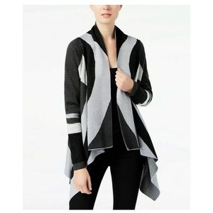 New INC grey colorblocked Sweater Cardigan Sz M